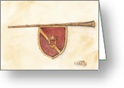 Ken Greeting Cards - Heraldry Trumpet Greeting Card by Ken Powers
