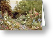 Spring Scenes Painting Greeting Cards - Herbaceous Border  Greeting Card by Evelyn L Engleheart
