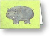 Hippopotamus Tapestries Textiles Greeting Cards - Herbert Hippo Nursery Art Greeting Card by Katie Carlsruh
