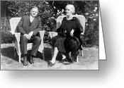 First Lady And President Greeting Cards - Herbert Hoover seated with his wife Greeting Card by International  Images