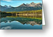 Mountain Range Greeting Cards - Herbert Lake - Quiet Morning Greeting Card by Jeff R Clow
