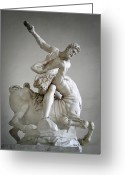City And Colour Greeting Cards - Hercules and Centaur Sculpture Greeting Card by Artecco Fine Art Photography - Photograph by Nadja Drieling