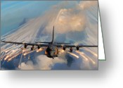 C130 Greeting Cards - Hercules Has Arrived Greeting Card by Peter Chilelli