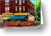 Resto Bars Greeting Cards - Hercules Souvlaki Montreal Greeting Card by Carole Spandau