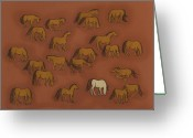 Wild Horses Greeting Cards - Herd 1 Greeting Card by Sophy White