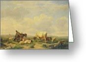 Sheepdog Greeting Cards - Herdsman and Herd Greeting Card by Eugene Joseph Verboeckhoven