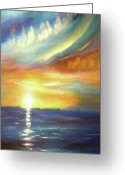  Originals Greeting Cards - Here It Goes - Vertical Colorful Sunset Greeting Card by Gina De Gorna