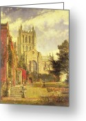 Architecture Painting Greeting Cards - Hereford Cathedral Greeting Card by John William Buxton Knight