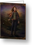 Illustration Greeting Cards - Hermione Granger 8x10 Print Greeting Card by Christopher Ables