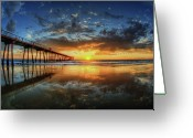Horizon Over Water Greeting Cards - Hermosa Beach Greeting Card by Neil Kremer