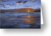 Los Angeles Painting Greeting Cards - Hermosa Sunset Greeting Card by Lisa Reinhardt