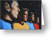 Captain Greeting Cards - Heroes of the Final Frontier Greeting Card by Kim Lockman