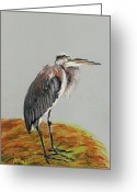 Interior Design Pastels Greeting Cards - Heron Greeting Card by Anastasiya Malakhova