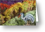 Felted Tapestries - Textiles Greeting Cards - Heron at Night Greeting Card by Nicole Besack