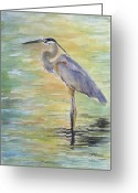 Great Painting Greeting Cards - Heron at the Lagoon Greeting Card by Patricia Pushaw