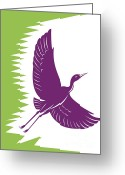 Heron Greeting Cards - Heron Crane Flying Retro Greeting Card by Aloysius Patrimonio