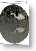 Egret Digital Art Greeting Cards - Heron Reflection Greeting Card by Larry Linton