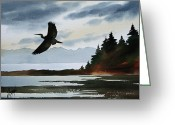 Wildlife Greeting Cards Prints Painting Greeting Cards - Heron Silhouette Greeting Card by James Williamson