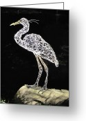 Kinetic Sculpture Greeting Cards - Heron Greeting Card by Tommy  Urbans