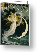 Magic Tricks Greeting Cards - Herrmann Maid of the Moon Greeting Card by Unknown