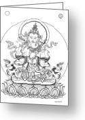 Iconography Drawings Greeting Cards - Heruka-Vajrasattva -Buddha of Purification Greeting Card by Carmen Mensink