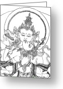 Iconography Drawings Greeting Cards - Heruka Vajrasattva Close-Up Greeting Card by Carmen Mensink