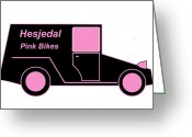 Asbjorn Lonvig Greeting Cards - Hesjedal Pink Bikes - Virtual Car Greeting Card by Asbjorn Lonvig