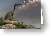 Cretaceous Greeting Cards - Hesperornis by the Sea Greeting Card by Daniel Eskridge