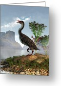 Cretaceous Greeting Cards - Hesperornis Greeting Card by Daniel Eskridge