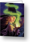 Magic Mixed Media Greeting Cards - Hex of the Wicked Witch Greeting Card by Philip Straub