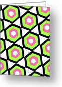 Hexagons Greeting Cards - Hexagon Greeting Card by Louisa Knight