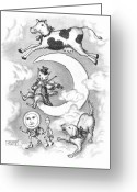 Black And White Cat Greeting Cards - Hey Diddle Diddle Greeting Card by Adam Zebediah Joseph