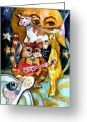 Puppies Greeting Cards - Hey Diddle Diddle Greeting Card by Mindy Newman