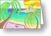 Beach Towel Greeting Cards - Hey I Am Over Here Greeting Card by Geree McDermott