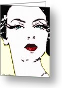 Patrick Nagel Greeting Cards - Hi Res Lady Greeting Card by Chuck Staley