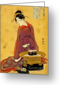 Hair Ornaments Greeting Cards - Hibachi 1794 Greeting Card by Padre Art