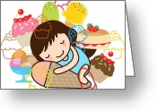 Children Ice Cream Greeting Cards - Hibernate Greeting Card by Littlebirth