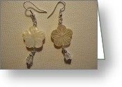 Earrings Jewelry Greeting Cards - Hibiscus Hawaii Flower Earrings Greeting Card by Jenna Green