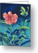 Bright Pastels Greeting Cards - Hibisicus Greeting Card by Billie Colson