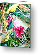 Hibiscus Tropical Drawings Greeting Cards - Hidden Beauty Greeting Card by Mindy Newman