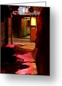 Gabor Pozsgai Greeting Cards - Hidden dark alley Greeting Card by Gabor Pozsgai
