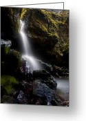 Creek Greeting Cards - Hidden Falls Greeting Card by Mike  Dawson