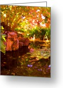 Digital Flower Greeting Cards - Hidden Pond Greeting Card by Amy Vangsgard