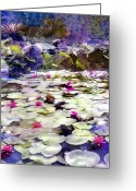 Santa Barbara Digital Art Greeting Cards - Hidden Pond Lotusland Greeting Card by Kurt Van Wagner
