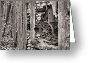 Black And White Barn Greeting Cards - Hidden Treasures Sepia Greeting Card by JC Findley