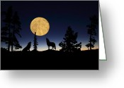 Moon Set Greeting Cards - Hidden Wolves Greeting Card by Shane Bechler