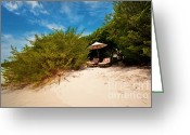 Sun Umbrella Greeting Cards - Hideaway. Maldivian Beach Greeting Card by Jenny Rainbow