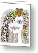 Paula Dickerhoff Greeting Cards - Hiding Behind the Mustache Greeting Card by Paula Dickerhoff