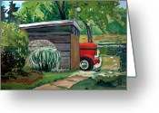 Pickup Painting Greeting Cards - Hiding From The Junkyard Greeting Card by Charlie Spear