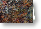 Abstract Painting Greeting Cards - Hiding Greeting Card by James W Johnson